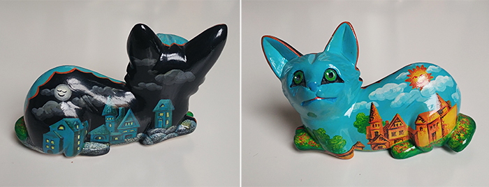 Sculpture clay cats