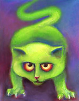 Green cats painting